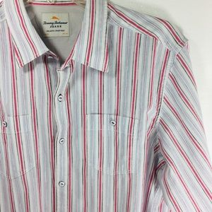 Tommy Bahama white striped button-down Shirt L